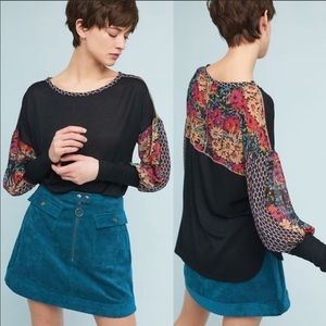 Anthropologie Tiny Raye Puff Sleeve Floral Top